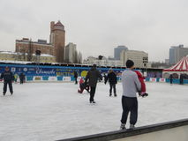 Pista de hielo en Kiev Foto de archivo libre de regalías