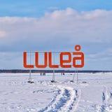 Pista de hielo de LuleÃ¥s para la reconstrucción y el patinaje a campo través Imagenes de archivo