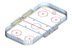 Pista de hockey sobre hielo 3D isométrica Foto de archivo
