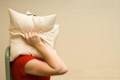 Pista de la cubierta de la mujer con una almohadilla Foto de archivo