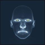 Pista de la persona de una red 3d Modelo de la cabeza humana Exploración de la cara Vista de la cabeza humana diseño geométrico d Foto de archivo libre de regalías