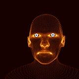 Pista de la persona de una red 3d Modelo de la cabeza humana Exploración de la cara Vista de la cabeza humana diseño geométrico d Imágenes de archivo libres de regalías