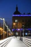 Pista de patinaje de hielo de la ciudad en Zagreb Imagen de archivo libre de regalías