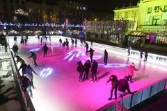 Pista de patinaje de la ciudad en Zagreb Imagenes de archivo