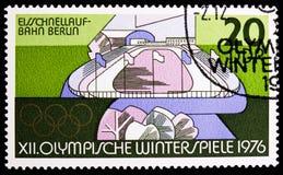 Pista de patinaje del ‹del †de la velocidad, Berlín, olimpiadas de invierno 1976, serie de Innsbruck, circa 1975 fotos de archivo