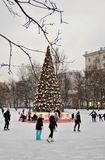 Pista de patinaje en Moscú Imagen de archivo