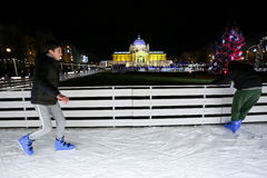 Pista de patinaje en Zagreb Fotografía de archivo