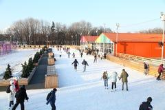 Pista de patinaje de hielo en el parque de Gorki moscú Año 2013 Imagenes de archivo