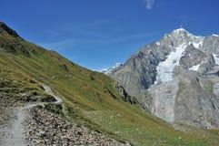Pista de senderismo de Mont Blanc del viaje imagenes de archivo