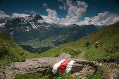 Pista de senderismo en el área de Grindelwald, Suiza Foto de archivo