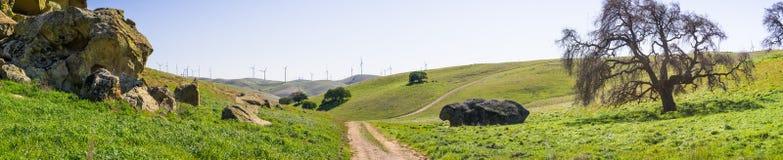 Pista de senderismo en las colinas de la área de la Bahía de San Francisco del este Foto de archivo