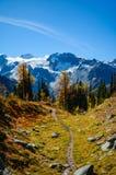 Pista de senderismo enorme del paso en Columbia Británica de las montañas de Purcell foto de archivo