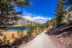 Pista de senderismo que sigue la línea de la playa del lago largo imagen de archivo