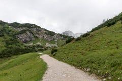 Pista de senderismo a través de las montañas de las montañas bávaras Imagenes de archivo
