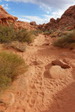 Pista de senderismo, valle del parque de estado del fuego, Nevada fotografía de archivo
