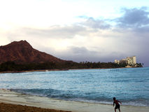 Pista del diamante y playa de Waikiki Imágenes de archivo libres de regalías
