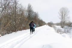 Pista del esquí para los esquiadores en el bosque en un invierno Imagenes de archivo