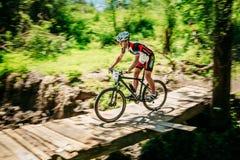 Pista del montar a caballo del ciclista de la bici de montaña en el día soleado Imagen de archivo libre de regalías