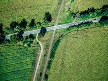Pista del país del cruce ferroviario en el medio del campo verde Imagen de archivo libre de regalías
