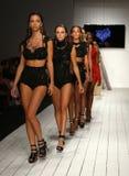 Pista del paseo de los modelos en ropa de la nadada del diseñador durante el desfile de moda de Furne Amato Fotografía de archivo