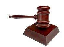 Pista del tiro del mazo de la sala de tribunal encendido Foto de archivo libre de regalías