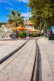 Pista del tram in porto Soller Fotografia Stock Libera da Diritti