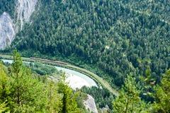 Pista del treno da e preciso del ghiacciaio visto dalla cima Fotografia Stock Libera da Diritti
