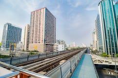 Pista del treno di BTS a Bangkok Tailandia. Fotografia Stock