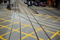 Pista della linea tranviaria Fotografia Stock