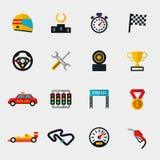 Pista della macchina da corsa e correre le icone piane moderne della bandiera Fotografia Stock Libera da Diritti