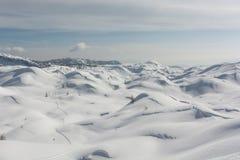 Pista dello sci in una neve Fotografia Stock Libera da Diritti