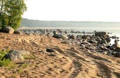 Pista di bobina sulla spiaggia Fotografia Stock
