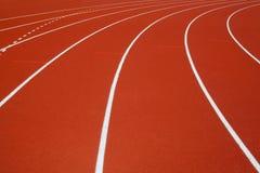 Pista di corsa rossa Fotografie Stock