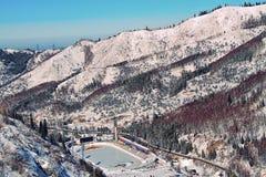 Pista di pattinaggio di Medeo (Medeu) a Almaty, il Kazakistan immagini stock libere da diritti