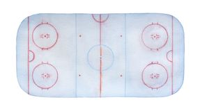 Pista di pattinaggio gelida del hockey su ghiaccio acquerella con le linee, i segni, i cerchi, le zone e le posizioni immagini stock