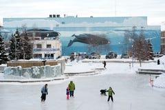 Pista di pattinaggio pattinante esterna a Anchorage Immagine Stock