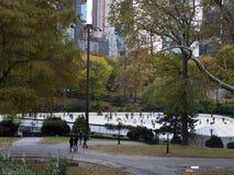 Pista di pattinaggio sul ghiaccio al Central Park New York Immagine Stock