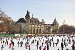 Pista di pattinaggio sul ghiaccio del parco della città di Budapest Fotografie Stock Libere da Diritti