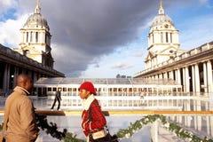 Pista di pattinaggio sul ghiaccio di Greenwich, vecchio istituto universitario navale, Londra Immagine Stock Libera da Diritti