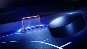 Pista di pattinaggio sul ghiaccio e scopo dell'hockey Fotografia Stock Libera da Diritti