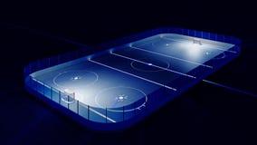 Pista di pattinaggio sul ghiaccio e scopo dell'hockey Fotografia Stock