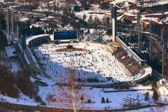 Pista di pattinaggio sul ghiaccio Medeo a Almaty, il Kazakistan Fotografia Stock Libera da Diritti