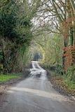 Pista do país no coração da linha lateral de Kent Country ambos os lados com árvores imagens de stock royalty free
