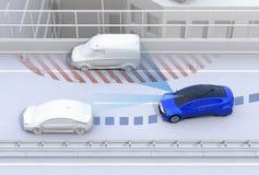 Pista em mudança do carro autônomo rapidamente para evitar um acidente de tráfico ilustração do vetor