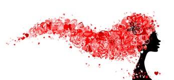 Pista femenina con el peinado hecho de corazones minúsculos ilustración del vector