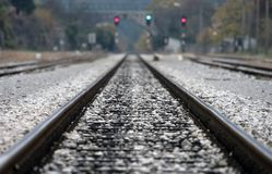 Pista ferroviaria Fotos de archivo libres de regalías