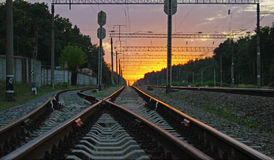 Pista ferroviaria Foto de archivo libre de regalías