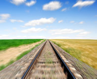 Pista ferroviaria borrosa Fotografía de archivo libre de regalías