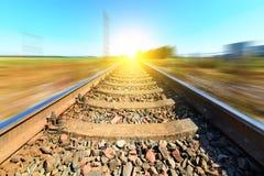 Pista ferroviaria borrosa Imagen de archivo libre de regalías