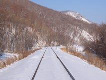 Pista ferroviaria en una cuesta de montaña Imagenes de archivo